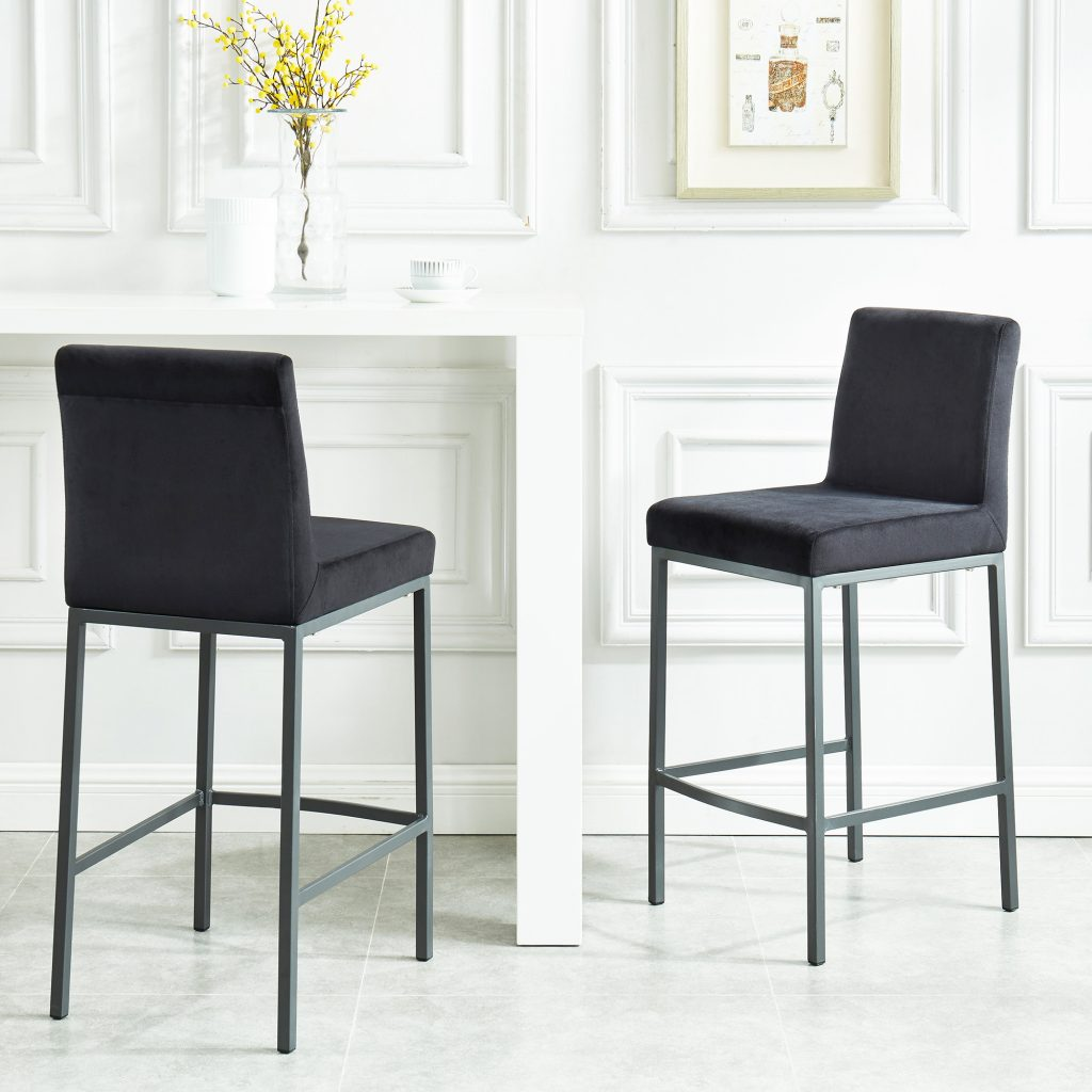 "Diego 26"" Black Counter Stool with Grey Legs"