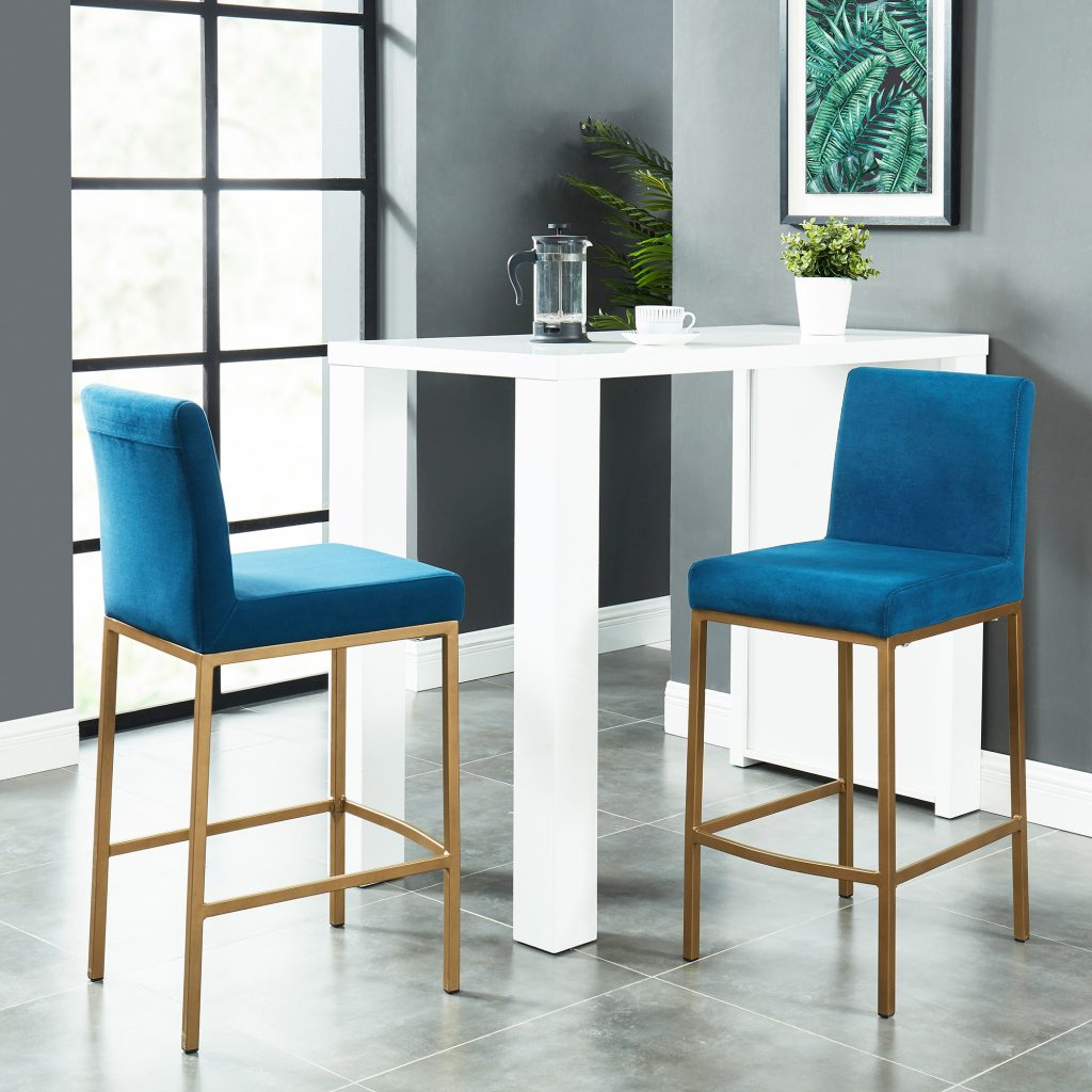 "Diego 26"" Blue Counter Stool with Gold Legs"