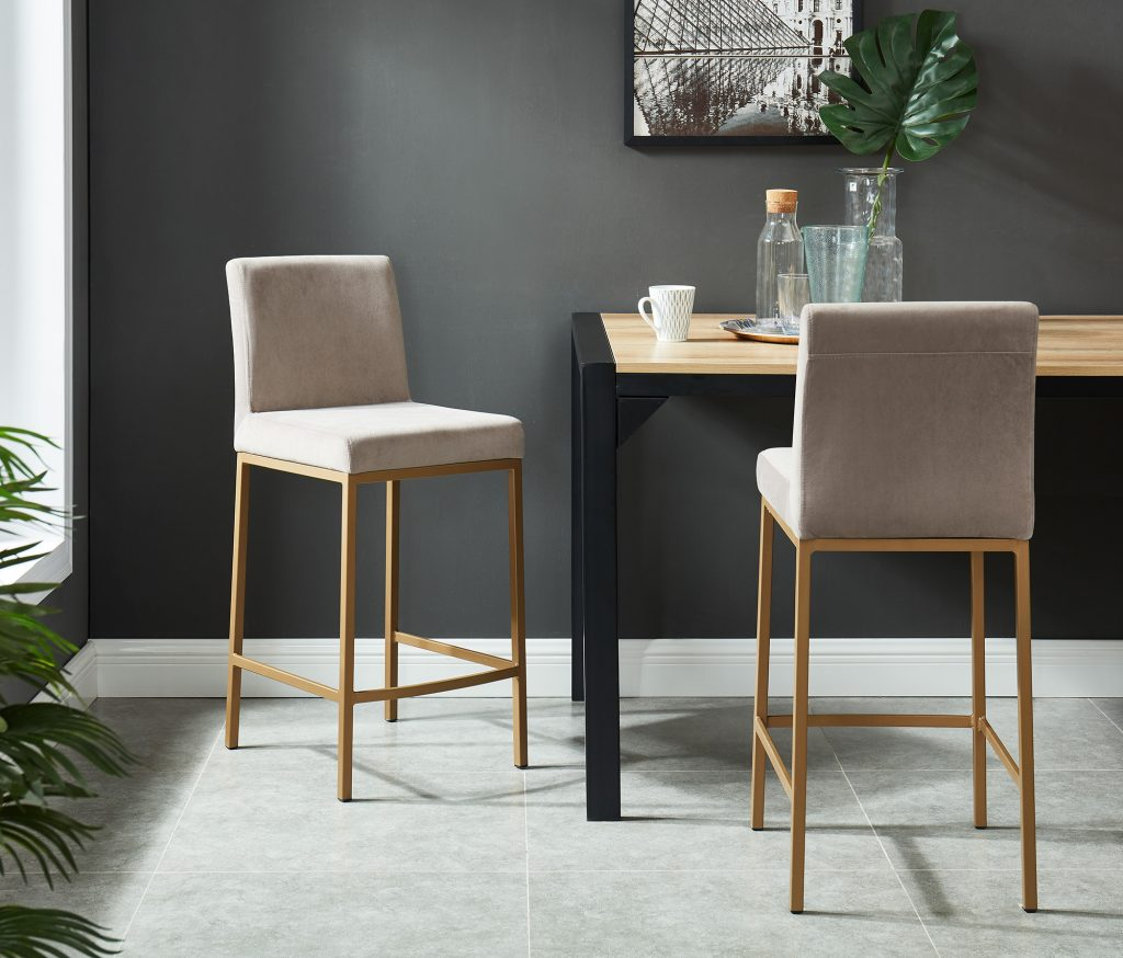 "Diego 26"" Grey Counter Stool with Gold Legs"
