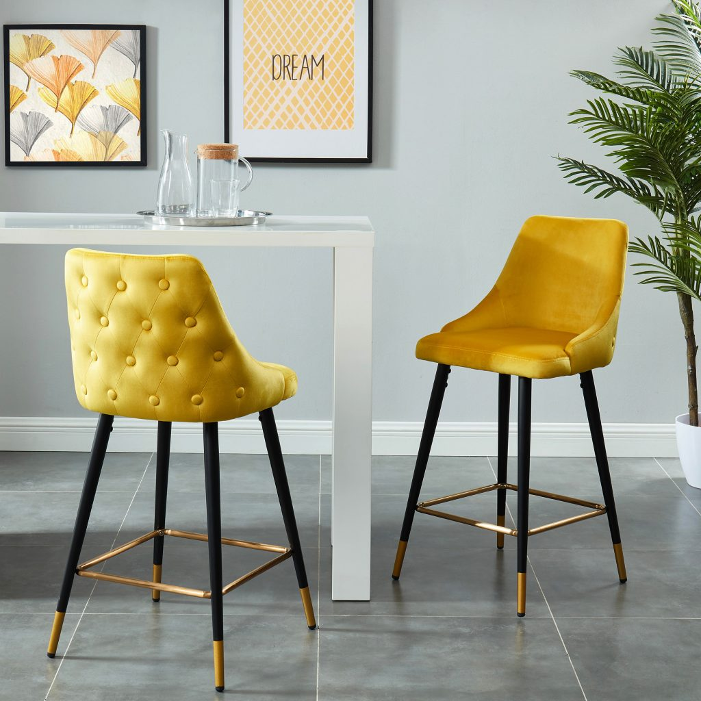 "Roxanne 26"" Yellow Counter Stool"