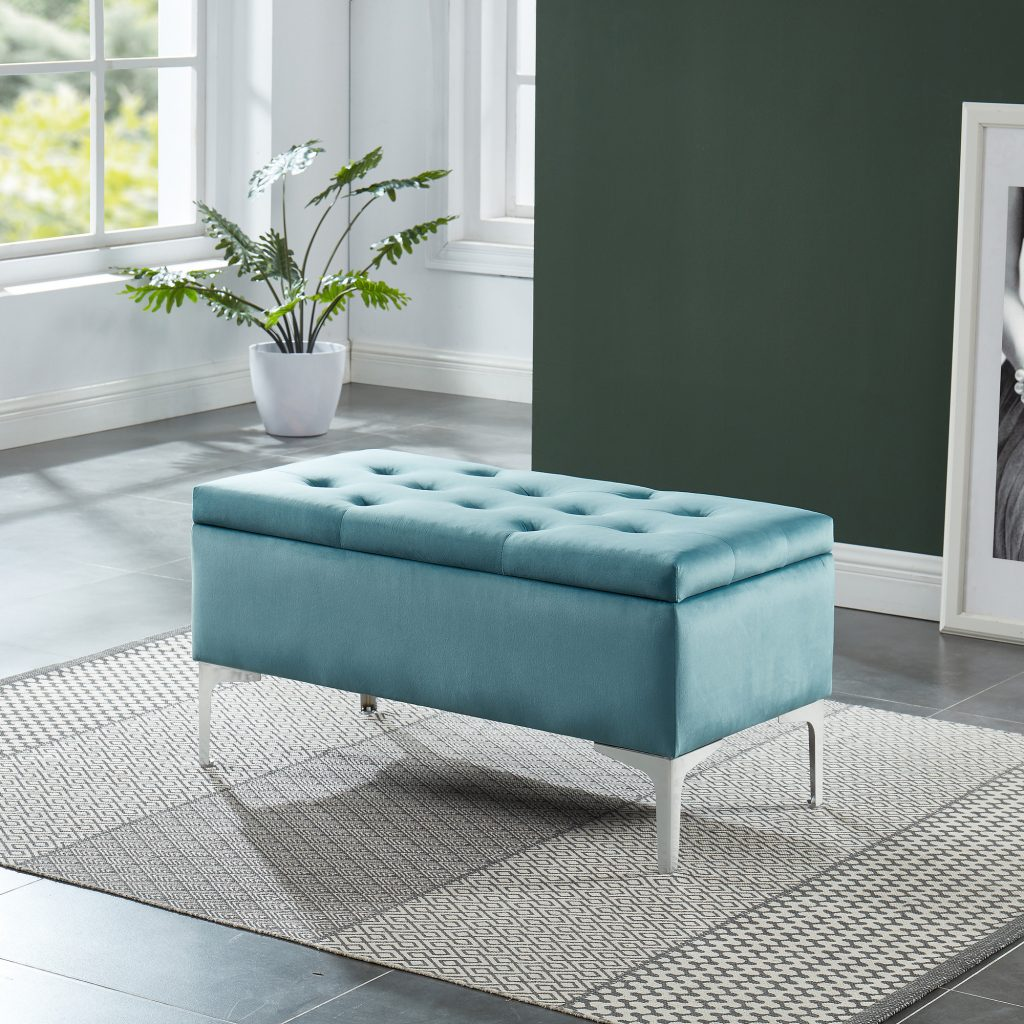 Clare Teal & Silver Storage Ottoman