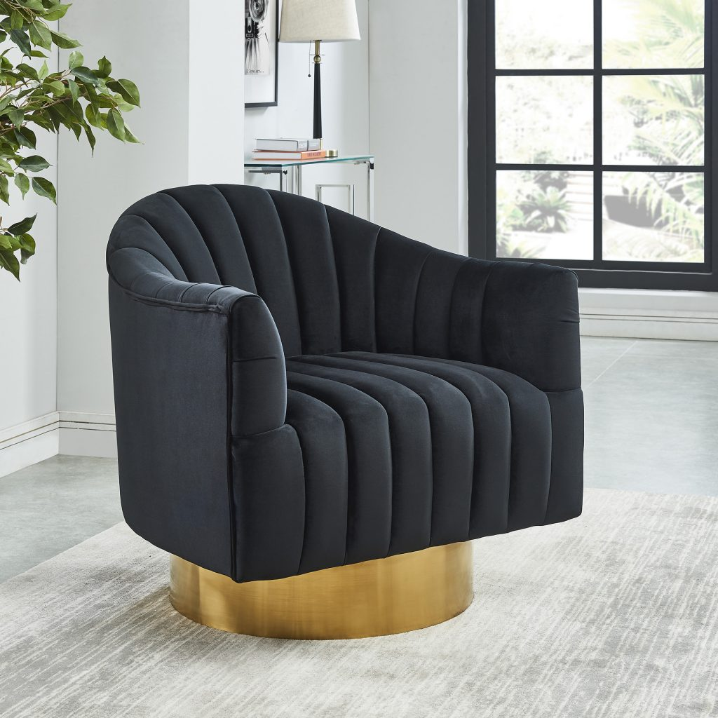Cortina Black & Gold Accent Chair