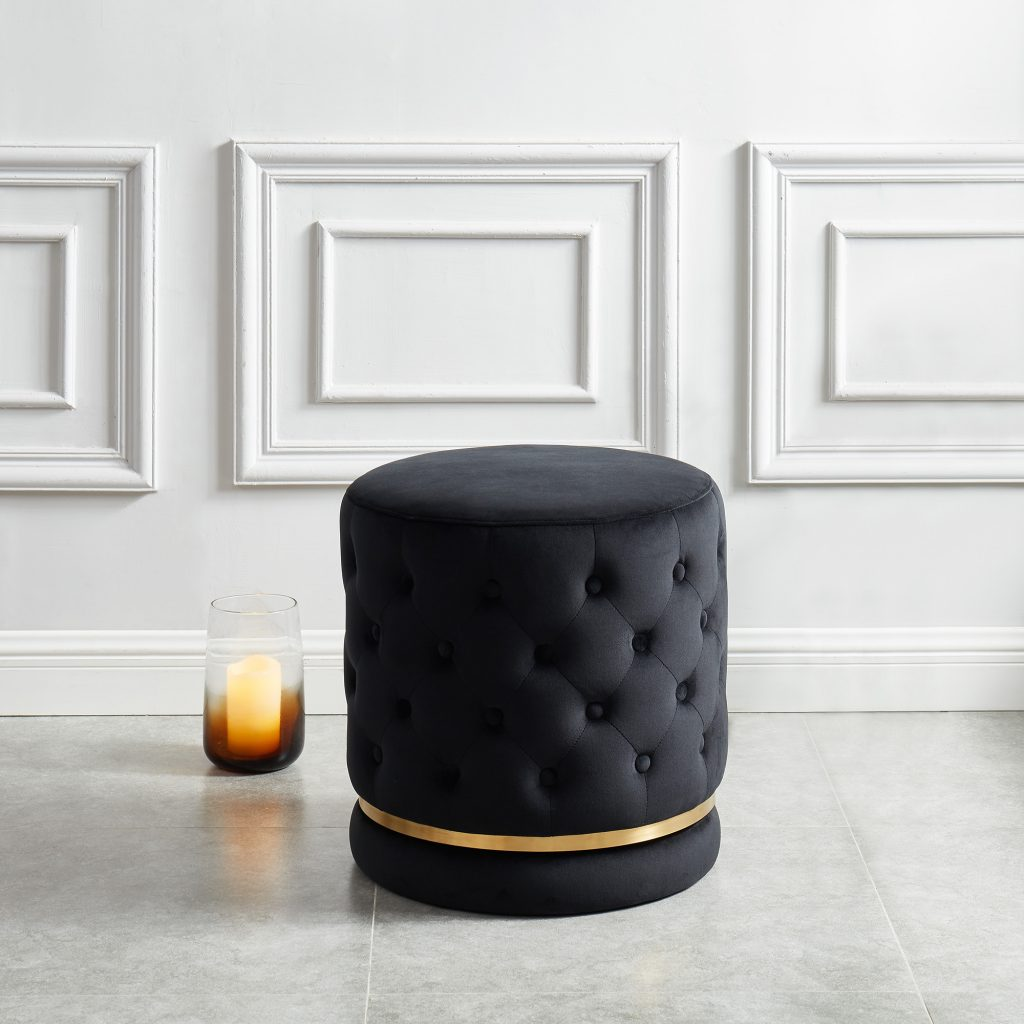Delilah Black & Gold Swivel Ottoman