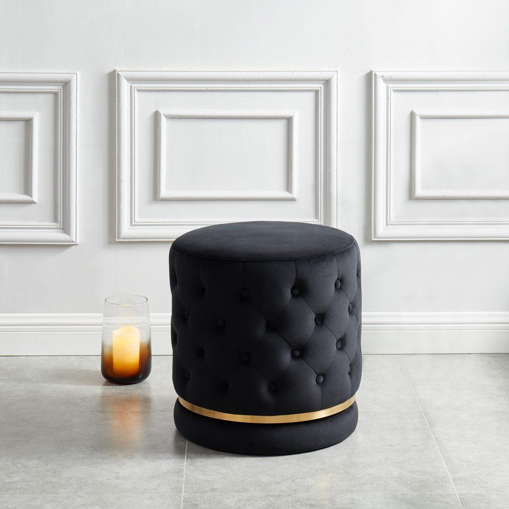 Delilah Black & Gold Swivel Ottoman