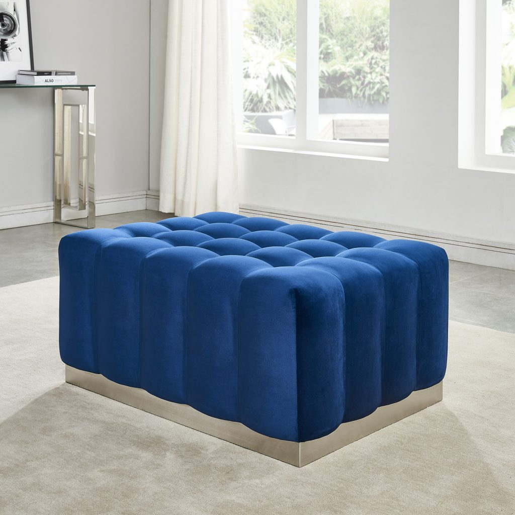 Magnum Blue & Silver Cocktail Ottoman