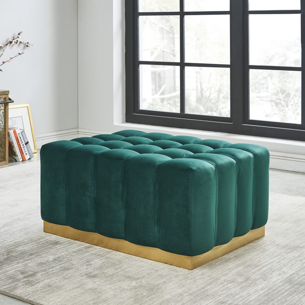 Magnum Green & Gold Cocktail Ottoman