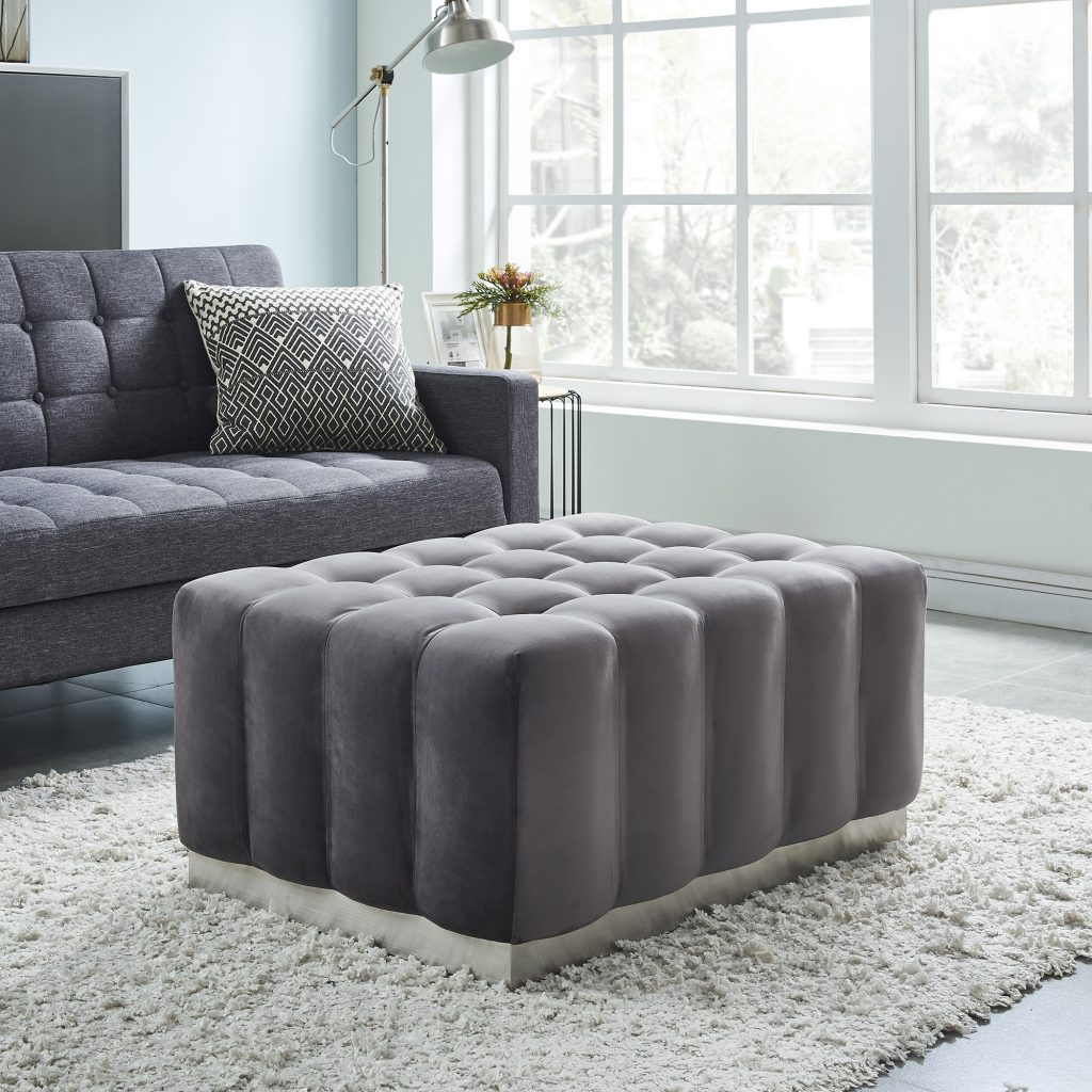 Magnum Grey  & Silver Cocktail Ottoman