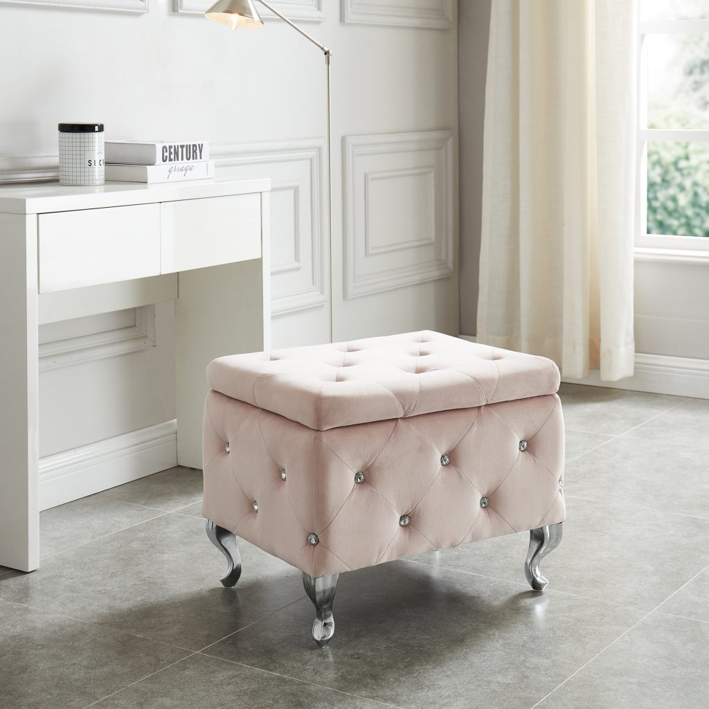 Monique Blush Storage Ottoman
