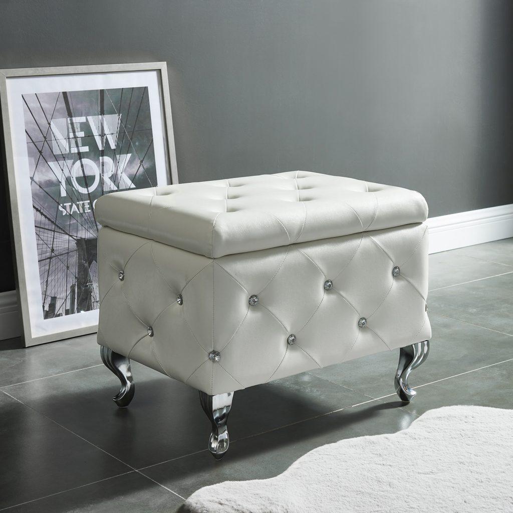 Monique White Storage Ottoman