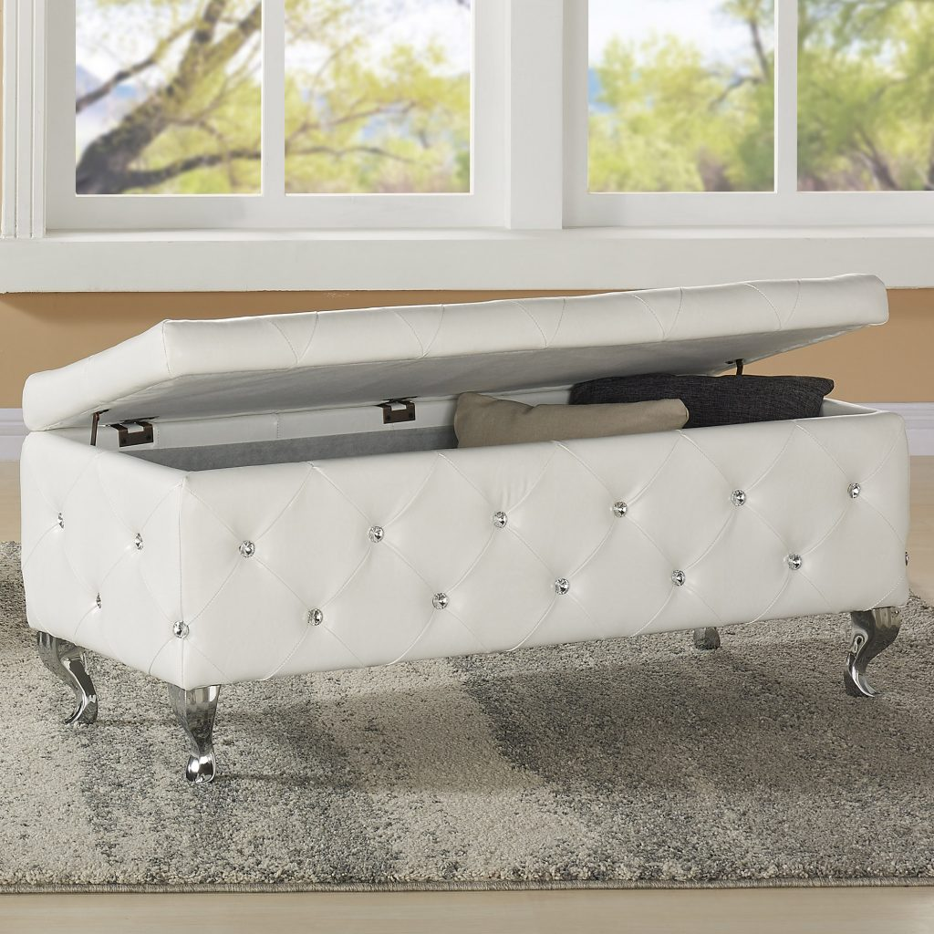 Monique White Storage Ottoman