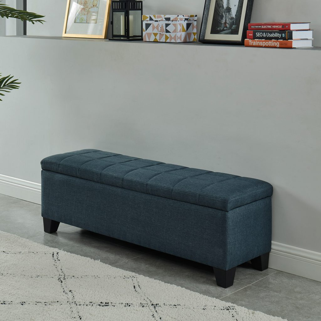 Morgan Blue Storage Ottoman