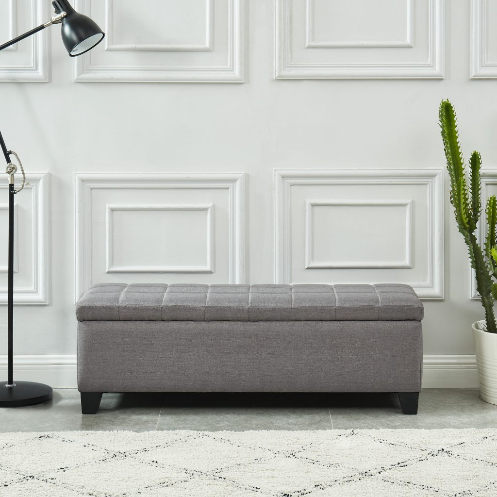 Morgan Grey Storage Ottoman