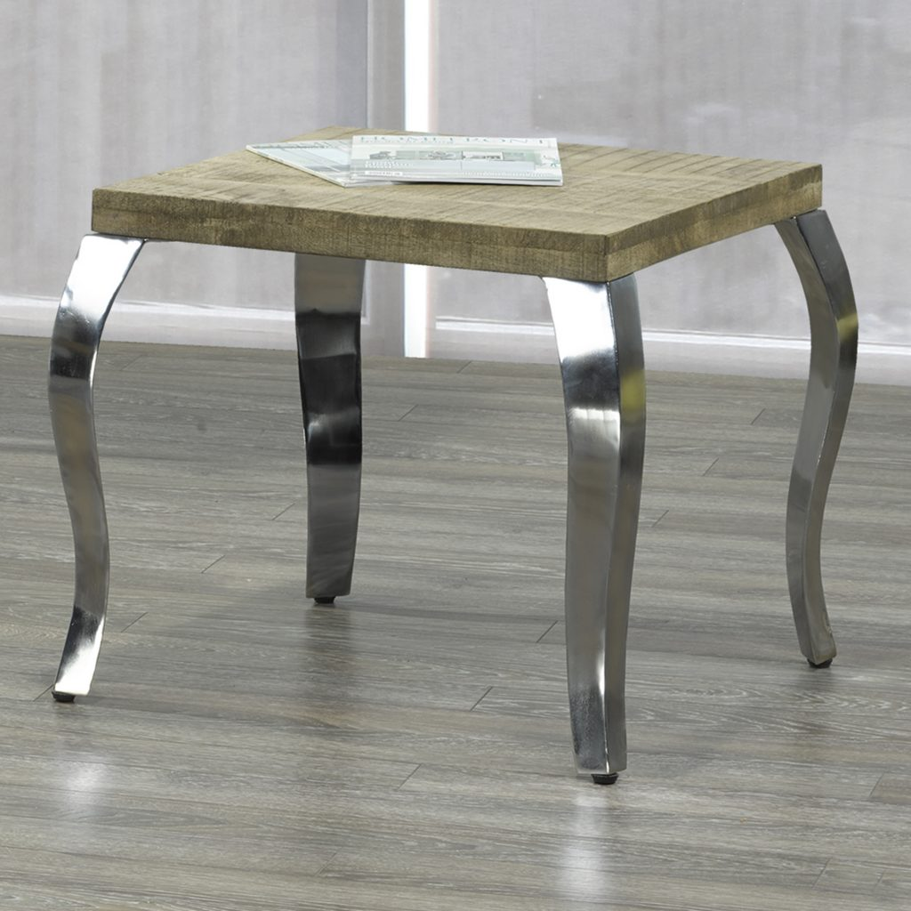 Natalia Reclaimed & Chrome Accent Table