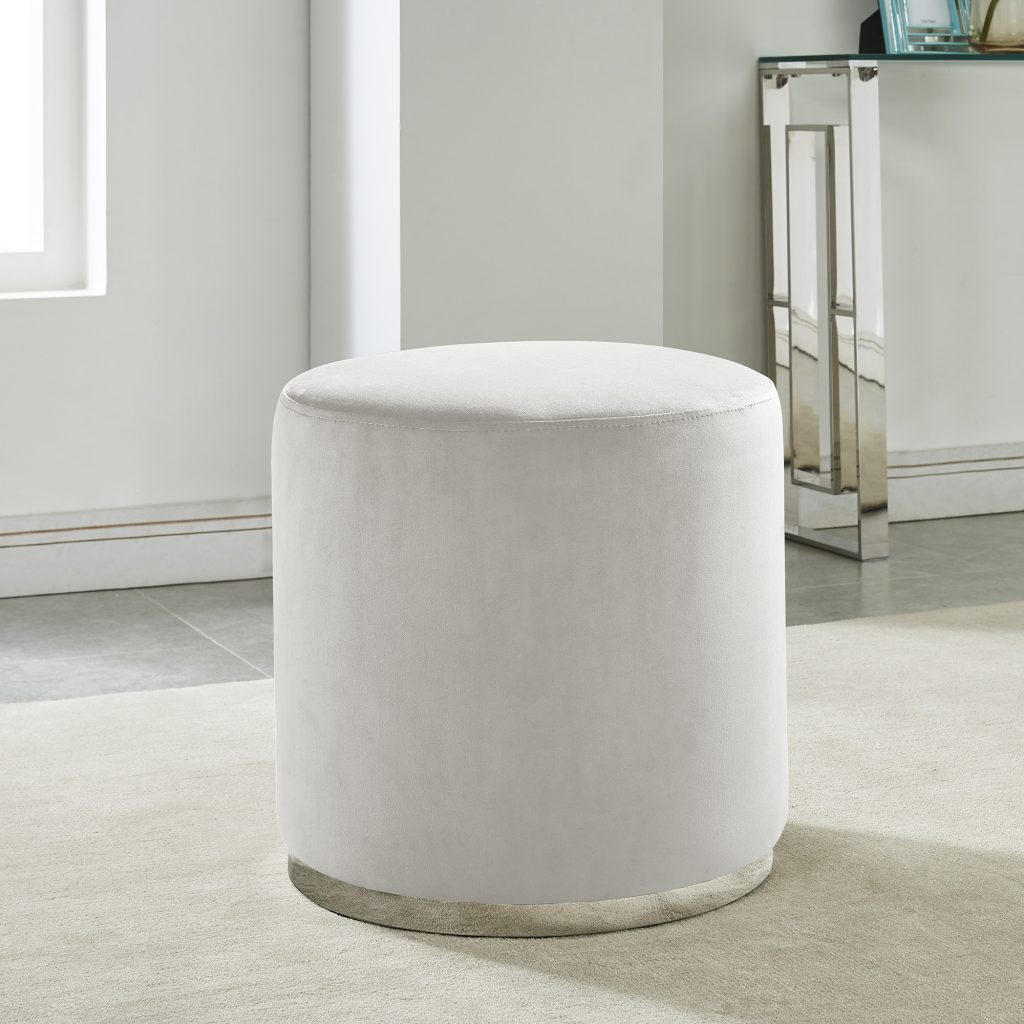 Opus Ivory & Silver Ottoman