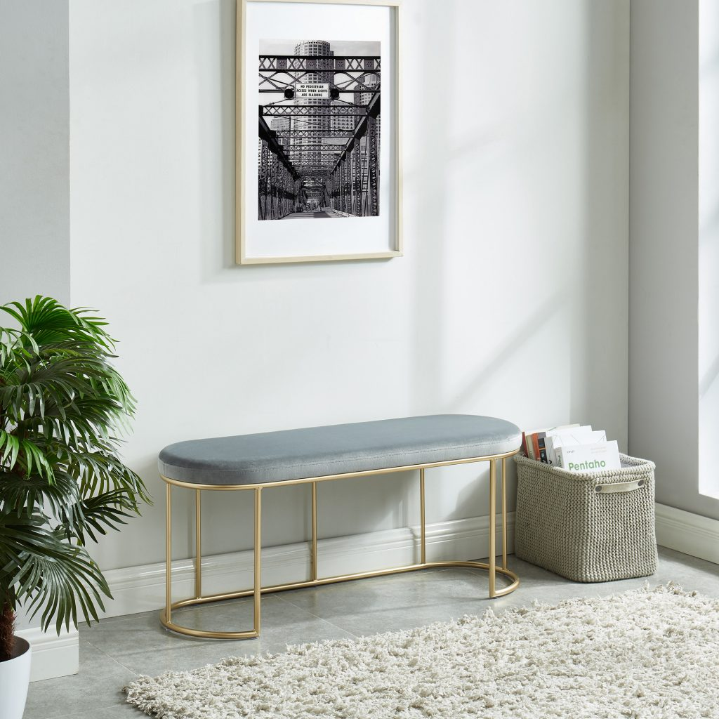 Perla Grey & Gold Bench