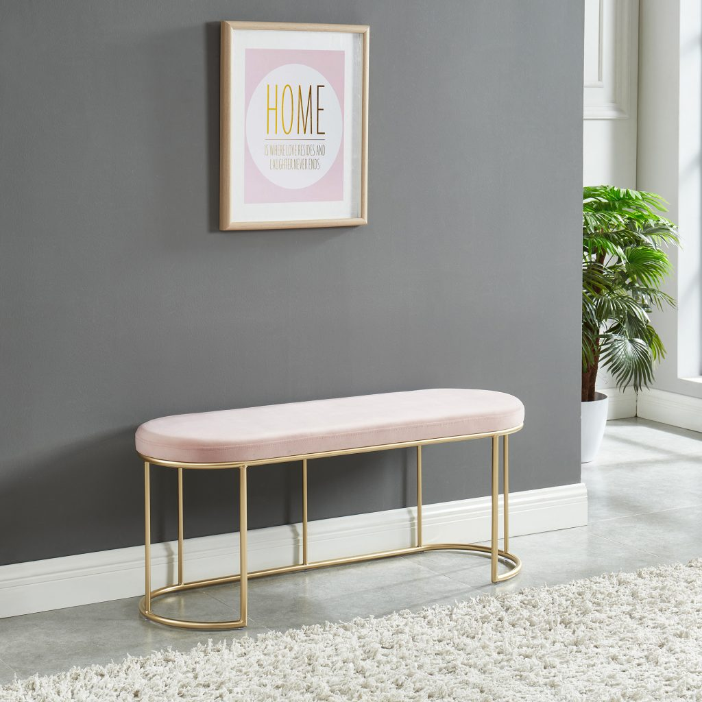 Perla Blush Pink & Gold Bench
