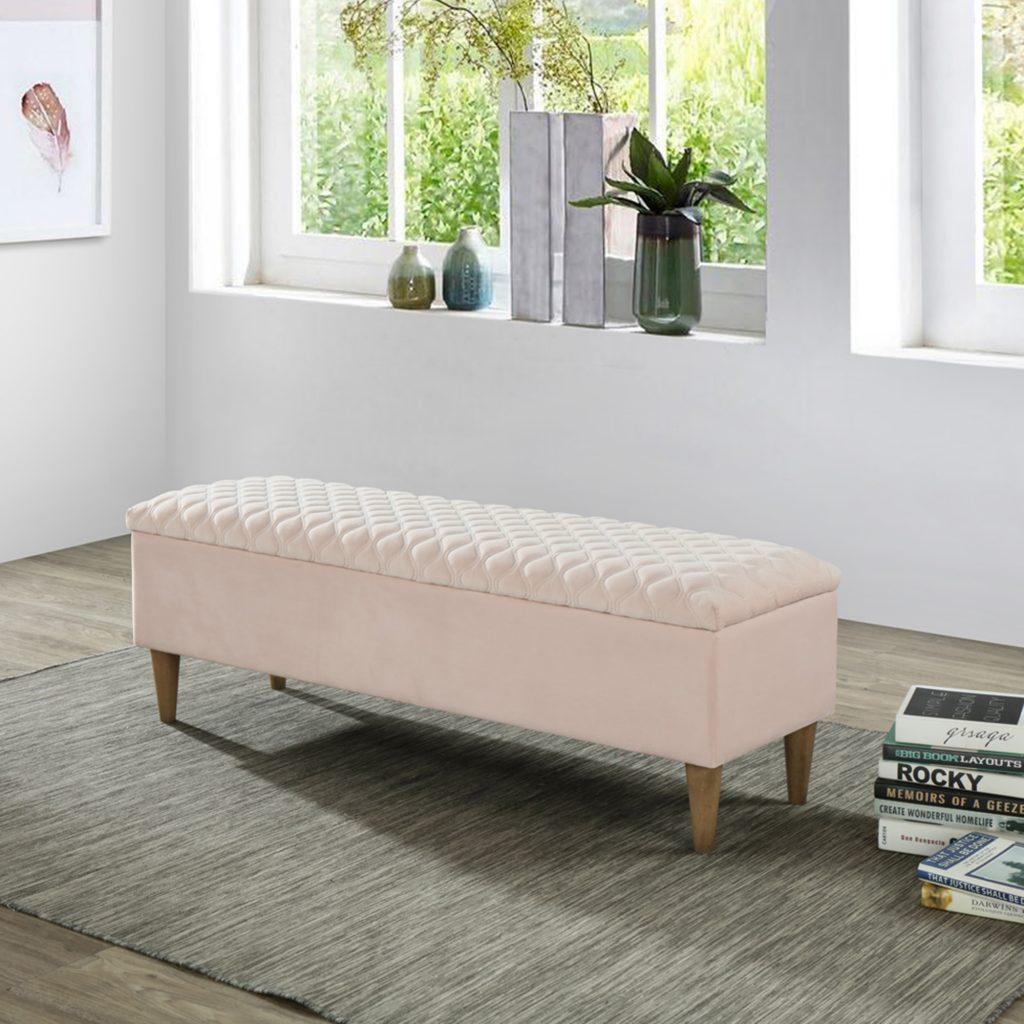 Sienna Blush Pink Storage Ottoman