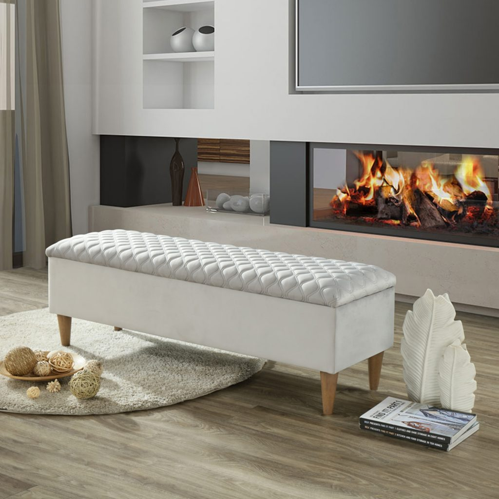 Sienna Light Grey Storage Ottoman