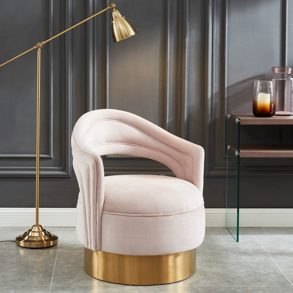 Sloane Blush & Gold Accent Chair