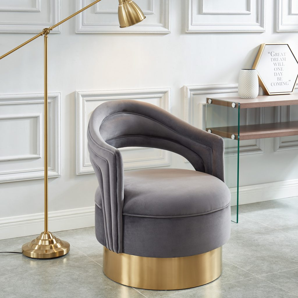 Sloane Grey & Gold Accent Chair