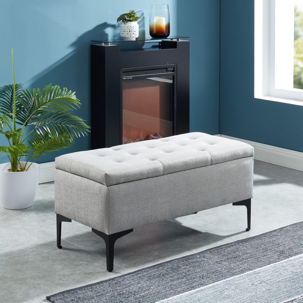 Tyler Light Grey & Black Storage Ottoman