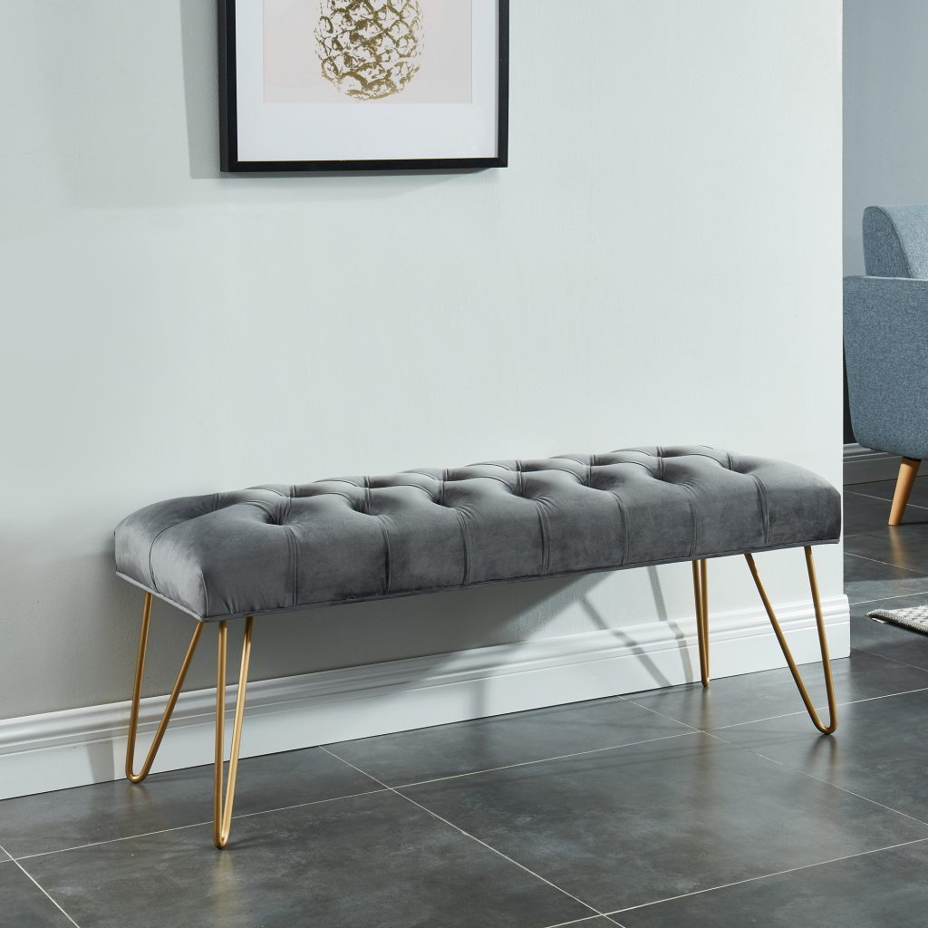Vdara Grey & Gold Bench