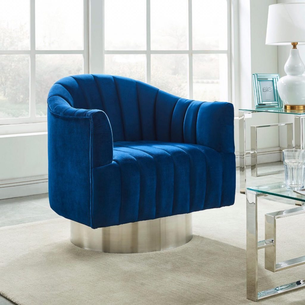 Cortina Blue & Silver Accent Chair