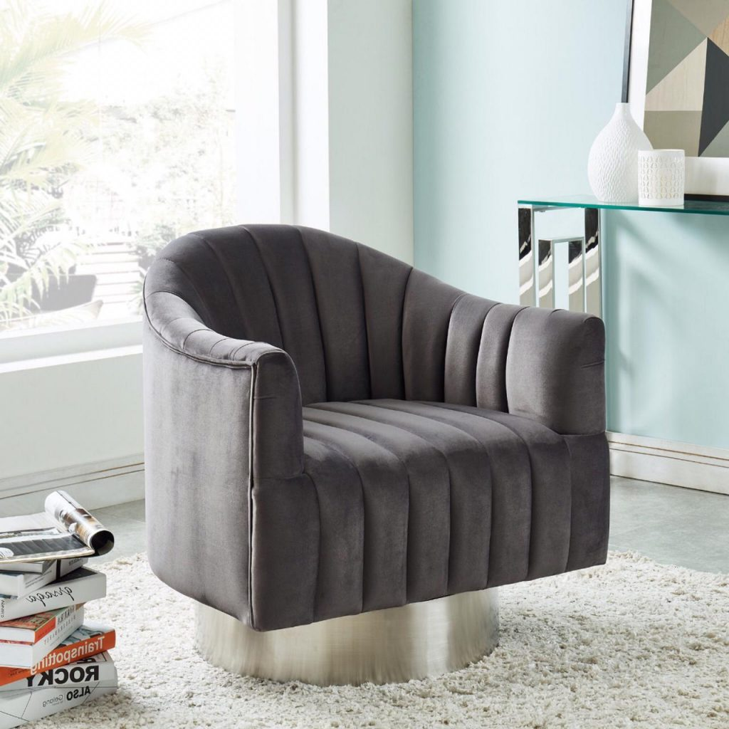 Cortina Grey  & Silver Accent Chair