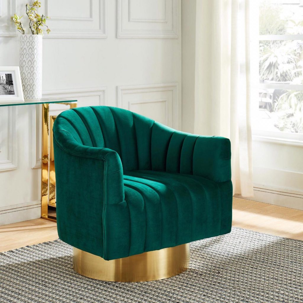 Cortina Green & Gold Accent Chair